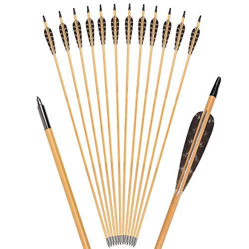 TY Archery 12 Stück 32 Zoll Holzpfeile mit 4...
